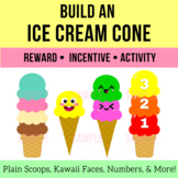 Ice Cream Rainbow Scoops & Cone -  Kawaii Faces, VIPKid Dino Faces, Numbers