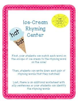 Ice-Cream Rhyming Words Center