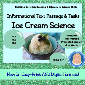 Ice Cream Science: Informational Text Passage & Tasks (Integrate Visuals)
