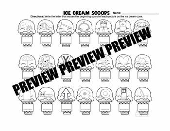 Ice Cream Scoop Beginning Sounds Game