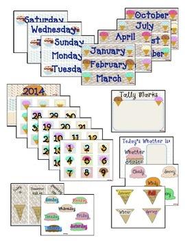 Ice Cream Scoop Themed: Calendar Math, Binder Cover, Conduct