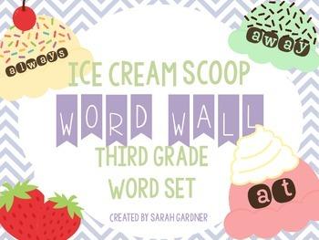 Ice Cream Scoop Word Wall Set {Third Grade}