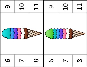 Ice Cream Scoops Counting Clip Cards