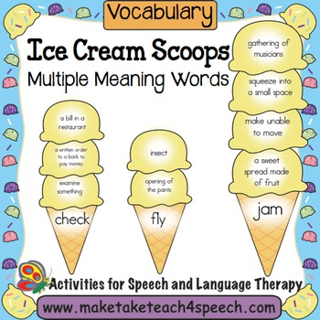 Ice Cream Scoops- Multiple Meaning Words