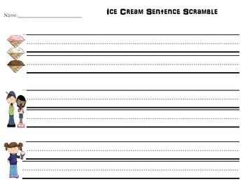 Ice Cream Sentence Scramble