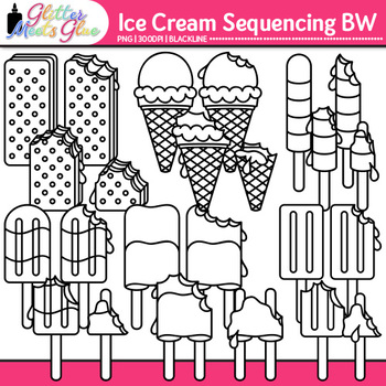 Ice Cream Sequencing Clip Art {Great for Worksheets & Handouts} B&W