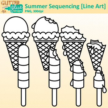 Ice Cream Sequencing Clip Art | Great for Worksheets & Handouts | B&W