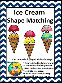 Preschool Ice Cream Shape File Folder Game