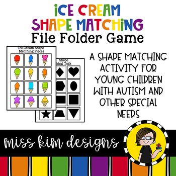 Ice Cream Shape Match File Folder Game for Special Education
