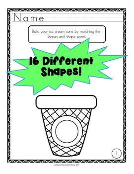 Ice Cream Shape Workbook with 24 Pages Covering 16 Shapes!