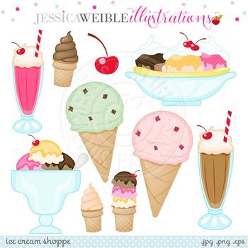 Ice Cream Shop Cute Digital Clipart, Ice Cream Clip Art