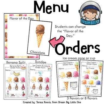 Ice Cream Shop Dramatic Play Center / Parlor Pretend Play Printables