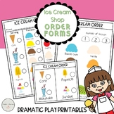Ice Cream Shop Dramatic Play / Pretend Play Order Forms