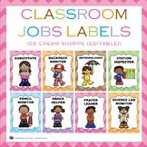 Ice Cream Shoppe Classroom Jobs Labels {EDITABLE!}