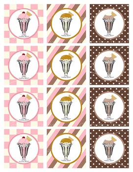 Ice Cream Shoppe Cupcake Toppers / Stickers DIY Party Decorations