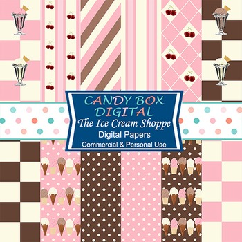 Retro Pink and Brown Ice Cream Shoppe Digital Background Papers