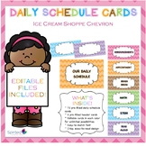 Ice Cream Shoppe and Chevron Daily Schedule Cards