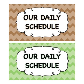 Ice Cream Shoppe and Chevron Daily Schedule Cards {Editable!}