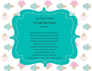 Ice Cream Sight Word Game
