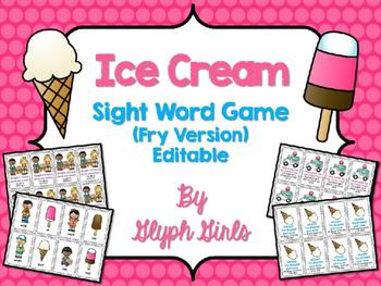 Ice Cream Sight Word Game (Fry Version)