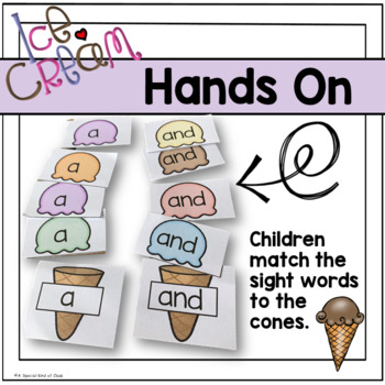 Ice Cream Sight Word Match Pre-Primer Dolch List