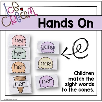 Ice Cream Sight Word Game - Grade One Dolch List