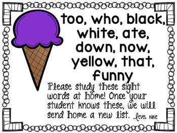 Ice Cream Sight Words!