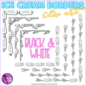 Ice Cream borders black line clipart