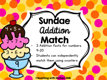 Ice Cream Sundae Addition Match
