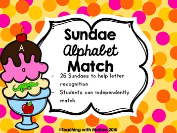 Ice Cream Sundae Alphabet Match