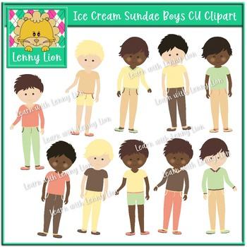 Ice Cream Sundae Boys Clipart