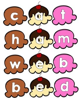 Ice Cream Sundae CVC Phonics Center: Consonant Vowel Consonant Center