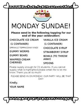 Ice Cream Sundae Celebration Template