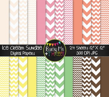 Ice Cream Sundae Chevron Digital Papers {Commercial Use Di