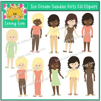 Ice Cream Sundae Girls Clipart