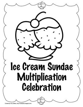 Ice Cream Sundae Multiplication Celebration Black and White