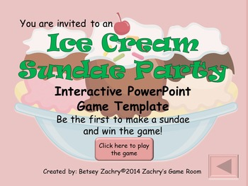 Ice Cream Sundae Party Interactive PowerPoint Game Template for All Subjects
