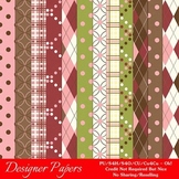 Ice Cream Sundae Pkg2 A4 Size Digital Paper Backgrounds