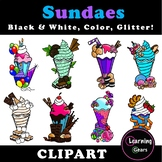 Ice Cream Clipart - Black & White, Color, Glitter!