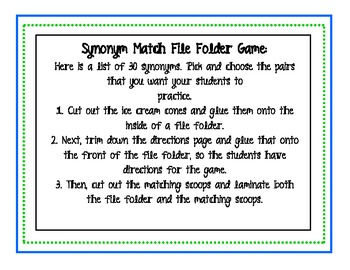 Ice Cream Synonym Match File Folder Game
