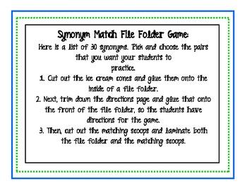 Ice Cream Synonym Match File Folder Game