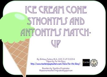 Ice Cream Synonym and Antonym Match-Up Game