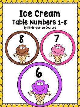 Ice Cream Table/Group Numbers 1-8
