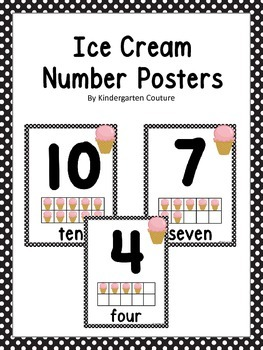 Ice Cream Ten Frame Number Posters