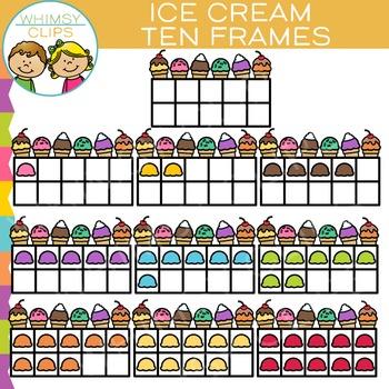 Ice Cream Ten Frames Clip Art