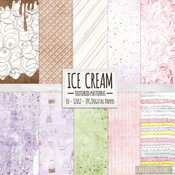 Ice Cream Textured Background Paper Pack, Summer Digital Paper