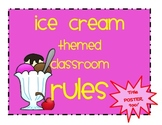 Ice Cream Theme Classroom RULES Posters