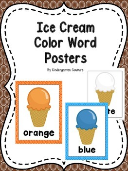 Ice Cream Theme Color Word Posters