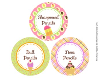 Ice Cream Theme Pencil Caddy Labels