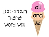 Ice Cream Theme Word Wall